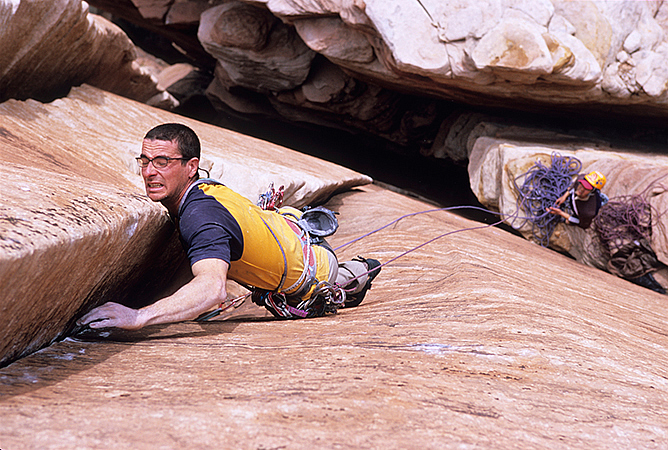 Cedar Wright making the first ascent of Birthday Bash, Zion National Park