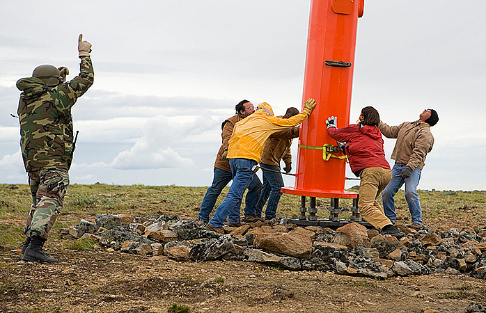 Niles Radio and the US Military attemp to set an 80' mono pole for a communication site in Central Alaska
