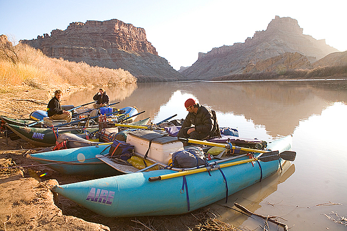 Jake Vanderwerf, Brody Greer and Eric Draper at Spanish Bottom, Colorado River.