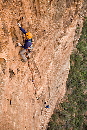 Joe French and Zach Lee climb the Holy Roller, Zion National Park