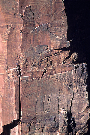 Climbers on Moonlight Buttress, Zion National Park